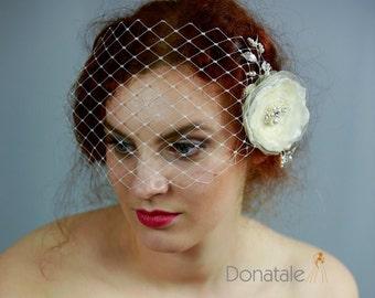 Bridal Birdcage Veil Bridal hair Wedding Fascinator Bridal Headpiece Hair flower Clip Ivory Champagne fascinator - NICOLE