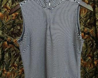 ADIDAS navy blue white stripes tank top