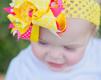 Girls pink and yellow hair bow headband clip lemonade bee sun summer