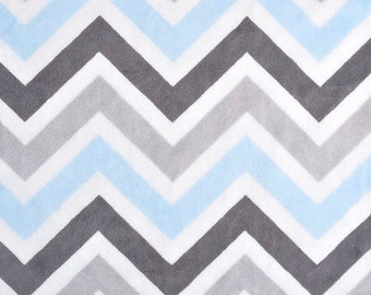 Personalized Baby Blanket or Lovey -  Baby Boy blanket - Custom Made - You Choose Minky Color - Blue and Gray Chevron, Baby Blue