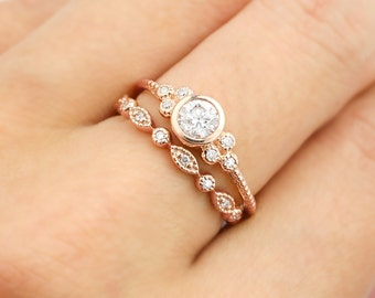 Rose gold engagement ring set, .30~.35ct F SI 3EX GIA certified diamond ring, diamond eternity ring, Unique wedding ring, ado-r101 ado-w102