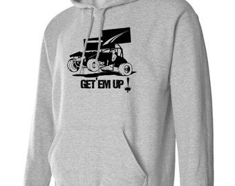 "GET ""EM UP  Sprint Race Car Racing Hoodie Sweatshirt s m L xL 2xL 3 xL Unisex Hooded sweater More Colors Racecar"