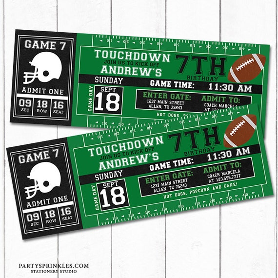 Custom football printable birthday invitation football ticket il570xn filmwisefo