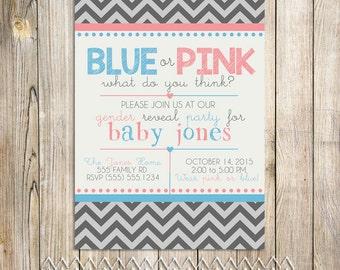 Blue or Pink Gender Baby Shower Invite Printable