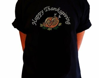 """Girls Rhinestone T-Shirt """" Cooked Turkey with Happy Thanksgiving """" in Kids Size 3 to 14"""