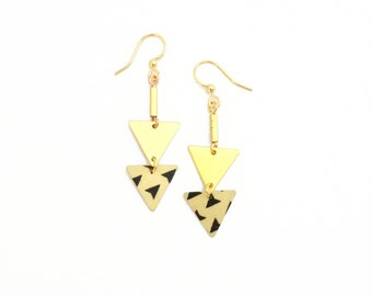 Ground black and white triangles. Earrings Golden geometric two triangles - handmade