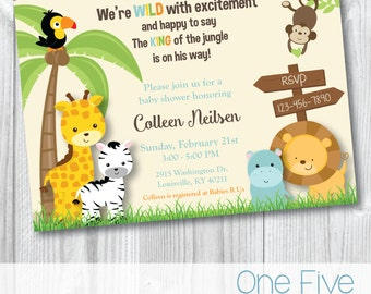 Baby Shower Invitation - Jungle Safari Theme - Printable (5x7)