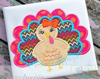 Turkey Girl Princess Diva Monogram Applique Digital Machine Embroidery Design 4 Size turkey applique, turkey girl applique turkey embroidery