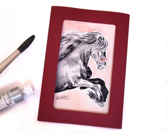 Image black stallion, Thoroughbred, greeting card card black horse, horse gift for rider, hand-painted greeting card, watercolor, hand painted