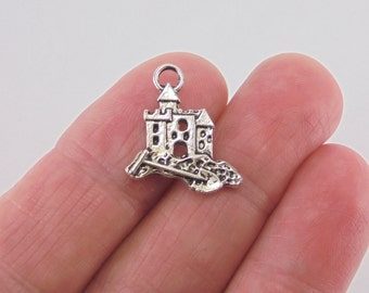 7 pc. Sand Castle charm, 17x16mm, antique silver finish