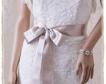 """2"""" Platinum Bridal Sash 4 yards, Deluxe Satin Platinum Wedding Sash, Platinum Satin Ribbon Bridal Belt,  Wedding Sash, Satin Bridal Sash"""