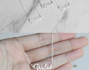 SALE 30%* Tiny Name Necklace/ Dainty Name Charm/ Small Charm  Necklace - Children name necklace - Baby name necklace - Mini name necklace