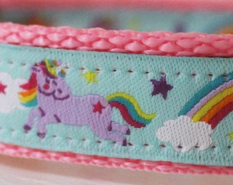 Sample Sale Magical Unicorns Dog Collar/Rainbow Dog Collar/Adjustable/Blue/Pink