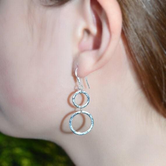 Sterling Silver Circles Dangle Earrings - Long Drop Earrings - Silver Hammered Dangling Earrings - Stud Drops