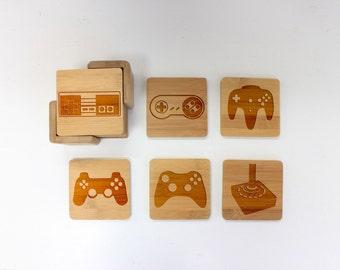 Gamer Coasters, Wood Coaster, Round Wood Coaster, Engraved Coasters, Gamer Lover, Video Game - Set of 6 --22060-CST2-001