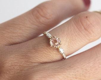 Peach Sapphire Ring, Sapphire Ring, Sapphire and Diamond Ring, Diamond Sapphire Ring, Sapphire Diamond Ring