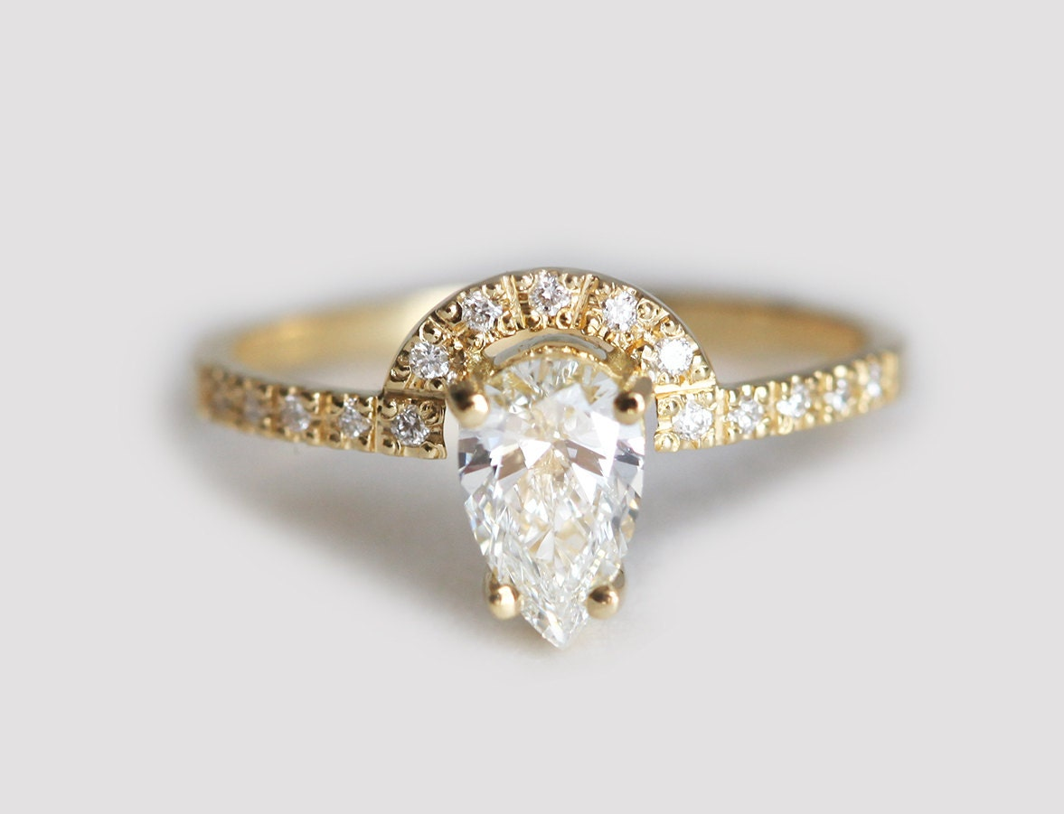 pear diamond engagement ring unique engagement ring modern. Black Bedroom Furniture Sets. Home Design Ideas