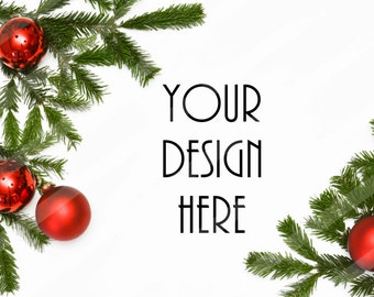Christmas Stock Photography / White Desk Holiday Greenery / Framed / Styled Stock Photography / Product Background