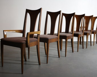 Set of 6 Broyhill Brasilia Dining Chairs in Walnut - Includes 2 Captains Chairs