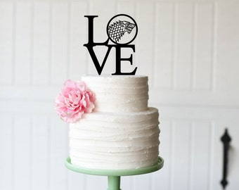 Game of Thrones Wedding Cake Topper - House Stark Cake Topper - LOVE Cake Topper