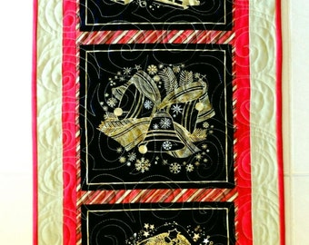 Christmas quilted tablerunner with Santa, Christmas bells & Christmas tree. handmade Xmas table topper