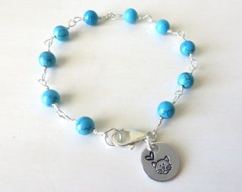 Cat Lovers Turquoise Heart Hand Stamped Bracelet