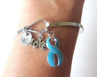 Turquoise Dysautonomia LOVE HOPE Customizable Awareness Charm Stainless Steel Bangle Bracelet With Optional Love Hope and Letter Charm