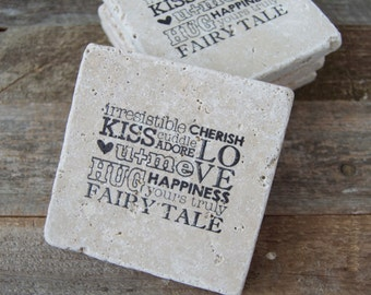 Natural Stone Coasters | Tumbled Travertine | Set Of 5 | Christmas Gift | Wedding Gift | Wedding Favors | Decoration | House Warming |