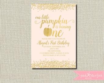 Pumpkin Birthday Invitation, Pumpkin Birthday, Pumpkin Invitation, Gold, Glitter, First Birthday Invitation, Halloween Birthday, Pink Gold