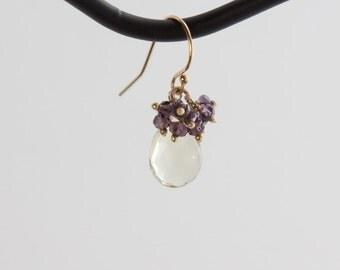 Green Amethyst and Purple Amethyst Earrings in 14kt Gold-fill