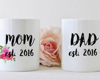 Mom and Dad mug set, dishwasher safe