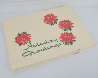 MCM Holiday Placemats 25 Count Paper Mod Christmas Party Table Decor Vintage 50s 60s Mid Century Mod Poinsettias Ivory Green Red