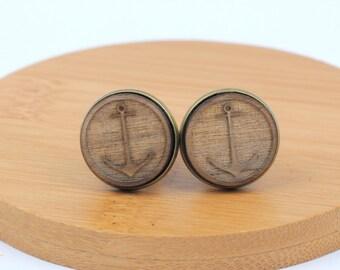 Wood Cuff Links, ANCHOR design, wood cuff links, bronze plated, nautical cuff links, sailing cuff links, boat cuff links, gft0093