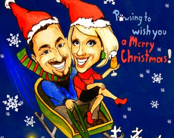 Christmas Caricature of your family, colleagues. Personalized greetings card