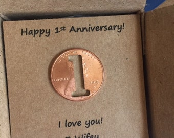 1st Anniversary, Happy Anniversary, Anniversary Gift, One Year, Lucky Penny, anniversary gift for him, anniversary gift for her