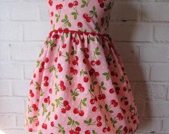 Cherries Baby Dress, Rockabilly Toddler Dress, Cherries Pink Red Baby Dress, Little Girl Dress, Baby Toddler Pink Dress, Any Size Girl Dress