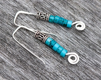 Turquoise Howlite Earrings, Minimalist Earrings, Hammered Sterling Silver Earrings, Turquoise Tribal Earrings, Bali Silver Bent Wire Earring