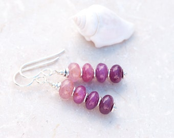 Pink Sapphire Earrings, Ombre Earrings, Pink Ombre Earrings, Pink Gem Stone Earrings, September Birthstone, Natural Stone Pink Earrings