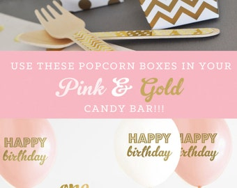 Pink and Gold Birthday Party Decor Favor Boxes Blush Pink and Gold Candy Buffet Boxes 1st Birthday Gold Popcorn Boxes (EB4008Y1) - 24 pcs