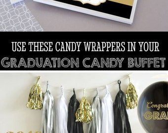 College Graduation Party Favors Personalized Graduation Favors Graduation Candy Bar Wrappers COVER Graduation Party Ideas (EB4001GZ) 24| pcs