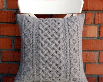 off white cable knit pillow cover 18x18 by cozyrivercottage. Black Bedroom Furniture Sets. Home Design Ideas