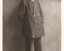 Man from Riga, 1920s real photo, big moustache, double breasted, vintage suit, studio portrait, dapper boyfriend, journal  (rppc/gl62)
