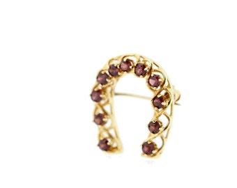 Gold Garnet Horeshoe brooch