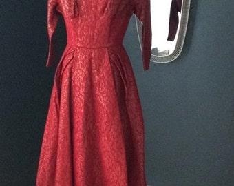 50er dress brocade jacquard red gold prom