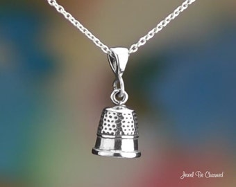 """Sterling Silver Thimble Necklace 16-24"""" or Pendant Only .925 Sewing"""