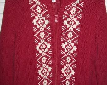 Sweater Large, Vintage Calvin Klein Winter Red  Zip- Up Sweater Scandanavian Flavor Size Large