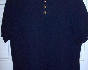 St. John Short Sleeved Knit Midnight Navy w Brass Buttons Size Small