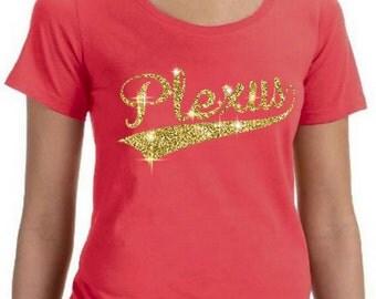 Large Coral - Plexus Glitter Script Women's Featherweight Scoopneck T-Shirt 74363AO