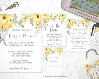 Wedding Invitation Suite - Yellow and green floral watercolor Printable - Customizable Wedding Invites - DIY Wedding Invitation Set
