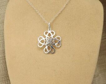 Celtic Flower Cross Knotwork, Sterling Silver Necklace, welsh, scottish, irish, gaelic, traditional celtic knotwork design